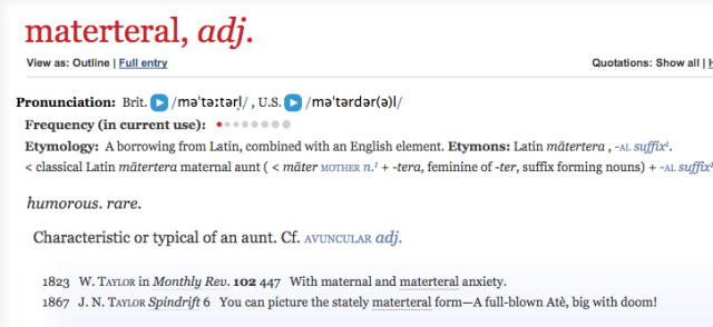 OED definition of materteral
